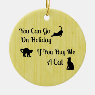 Funny Holiday Cat Round Ornament