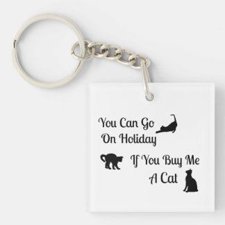 Funny Holiday Cat Square KeyChain
