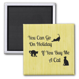 Funny Holiday Cat Square Magnet