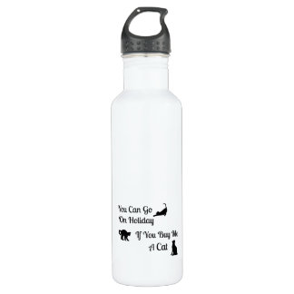 Funny Holiday Cat Water Bottle 24oz Water Bottle