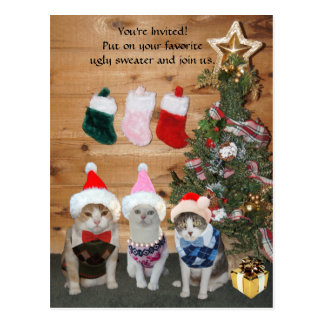 Funny Holiday Cats in Ugly Sweaters Postcard
