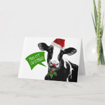 Funny Holiday Cow Merry Moo-rry Christmas