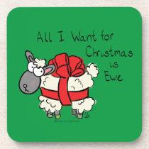 Funny Holiday Cute Sheep Christmas Cartoon Beverage Coaster