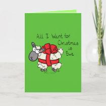Funny Holiday Cute Sheep Christmas Cartoon Card