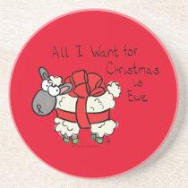 Funny Holiday Cute Sheep Christmas Cartoon Coaster