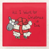Funny Holiday Cute Sheep Christmas Cartoon Glass Coaster