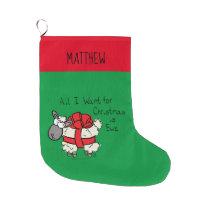 Funny Holiday Cute Sheep Christmas Cartoon Large Christmas Stocking