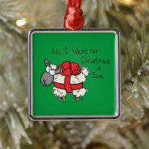Funny Holiday Cute Sheep Christmas Cartoon Metal Ornament