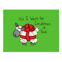 Funny Holiday Cute Sheep Christmas Cartoon Postcard