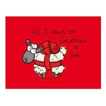 Funny Holiday Cute Sheep Christmas Cartoon Postcard