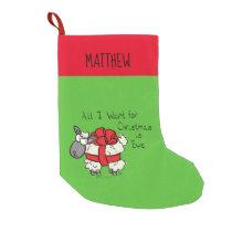 Funny Holiday Cute Sheep Christmas Cartoon Small Christmas Stocking