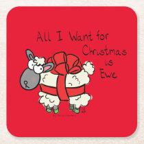 Funny Holiday Cute Sheep Christmas Cartoon Square Paper Coaster