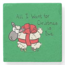 Funny Holiday Cute Sheep Christmas Cartoon Stone Coaster