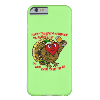Funny Holiday Drunk Turkey Heart Barely There iPhone 6 Case