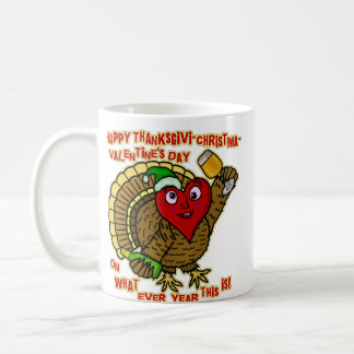 Funny Holiday Drunk Turkey Heart Coffee Mug
