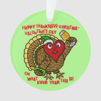 Funny Holiday Drunk Turkey Heart Ornament