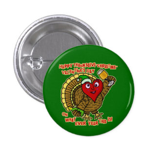 Funny Holiday Drunk Turkey Heart Pinback Button