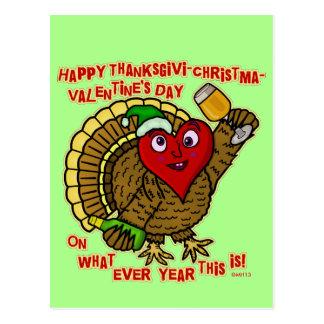 Funny Holiday Drunk Turkey Heart Postcard