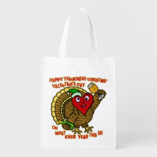 Funny Holiday Drunk Turkey Heart Reusable Grocery Bag