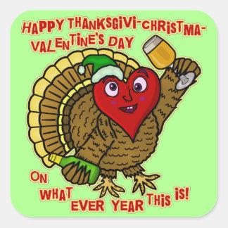 Funny Holiday Drunk Turkey Heart Square Sticker