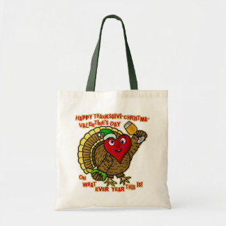 Funny Holiday Drunk Turkey Heart Tote Bag