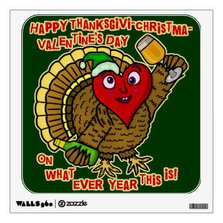Funny Holiday Drunk Turkey Heart Wall Skin