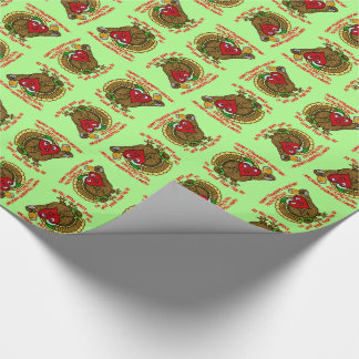 Funny Holiday Drunk Turkey Heart Wrapping Paper