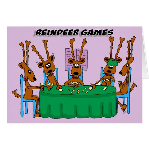 Funny holiday greeting card reindeer games zazzle for Funny reindeer christmas cards