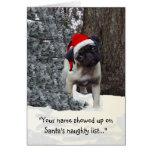 Funny Holiday Greeting Card w/ pug