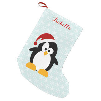 Funny Holiday Penguin Personalized Small Christmas Stocking