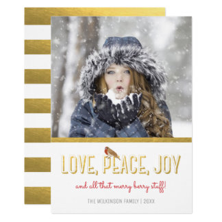 Funny Holiday Photo Love Peace Joy | Red Gold Card