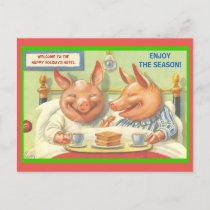 Funny Holiday Pigs Season's Greetings Vintage copy Postcard