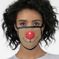 Funny Holiday Rudolph Red Nose Merry Christmas Face Mask