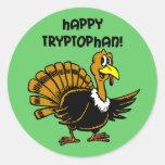 Funny holiday turkey round stickers