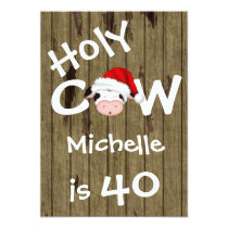 Funny Holy Cow 40th Christmas Holiday Birthday Card