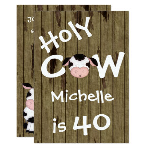 Humorous birthday invitations announcements zazzle funny holy cow 40th humorous birthday invitation stopboris Choice Image