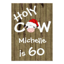 Funny Holy Cow 60th Christmas Holiday Birthday Card