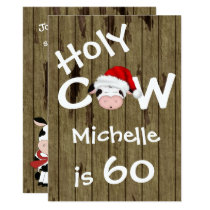 Funny Holy Cow 60th Christmas Holiday Birthday Invitation