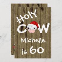 Funny Holy Cow 60th Christmas Holiday Birthday Invitation