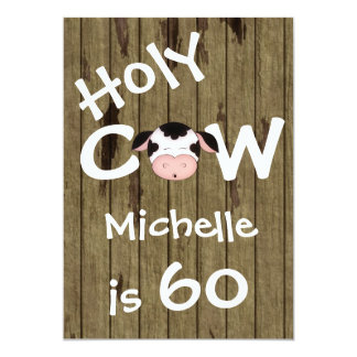 Funny Holy Cow 60th Humorous Birthday Party 5x7 Paper Invitation Card