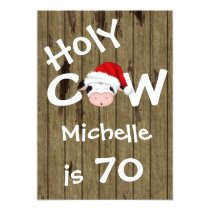 Funny Holy Cow 70th Christmas Holiday Birthday Card