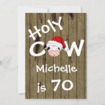 Funny Holy Cow 70th Christmas Holiday Birthday Invitation