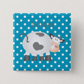 Funny Holy Cow And White Polka Dot Pattern Button