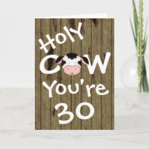 Funny Holy Cow You're 30 Humorous Birthday Card