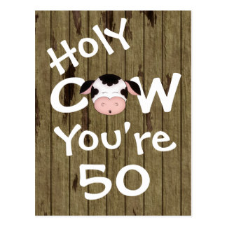 Funny Holy Cow You're 50 Birthday Postcard