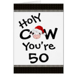 Funny Holy Cow You're 50 Christmas Birthday Card