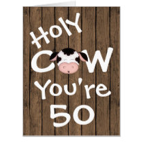 Funny Holy Cow You're 50 Humorous BIG Birthday Card