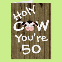 Funny Holy Cow You're 50 Humorous Birthday Card
