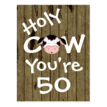 Funny Holy Cow You're 50 Humorous Birthday Postcard