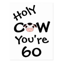 Funny Holy Cow You're 60 Birthday Humorous Postcard